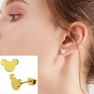 Gold Disney Theme Mickey Mouse Stud Earrings